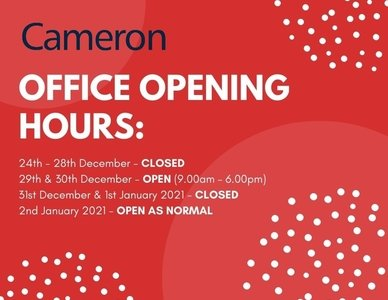 Festive Period – Opening Hours!